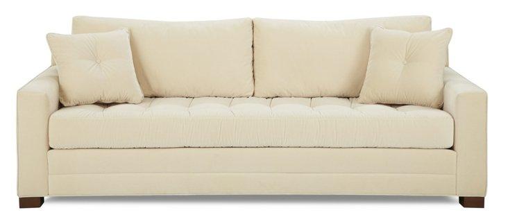 "Cameo 92"" Tufted Velvet Sofa, Cream"