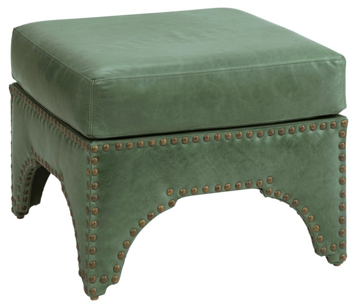 """Candemir 24"""" Ottoman, Green Leather"""
