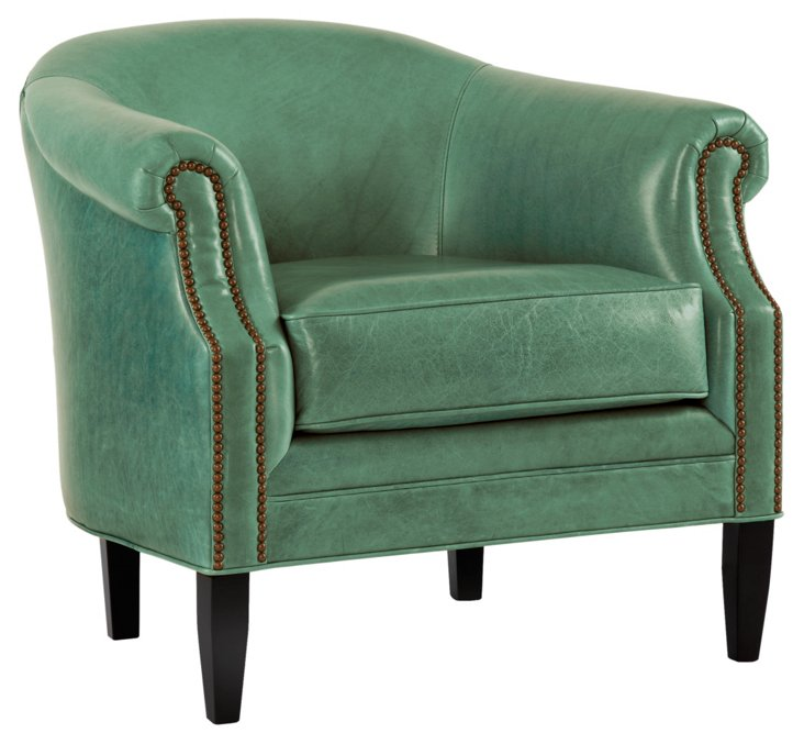 Hyde Leather Barrel Chair, Blue Green