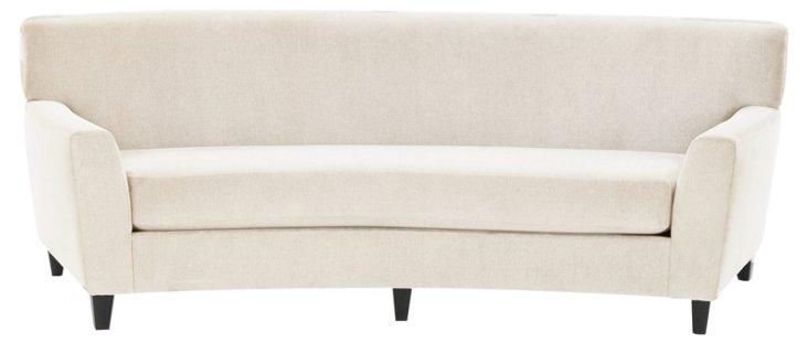 "Broadmoor 90"" Curved Cotton Sofa, Ivory"