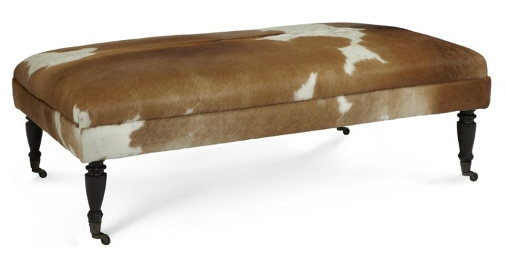 "Landon 44"" Ottoman, Brown/White Hide"