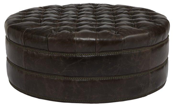 Nora Tufted Leather Ottoman, Dark Brown