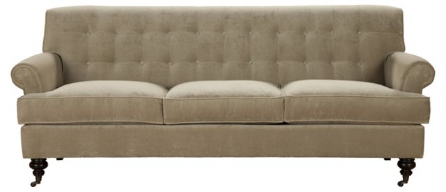 "Whitby 89"" Tufted Velvet Sofa, Sand"