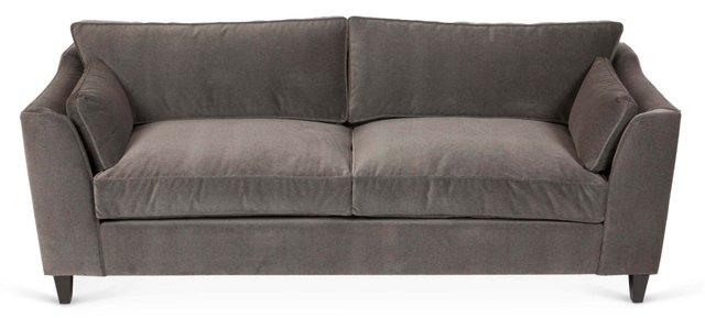 """Murray 88"""" Velvet Sofa, Graphite"""