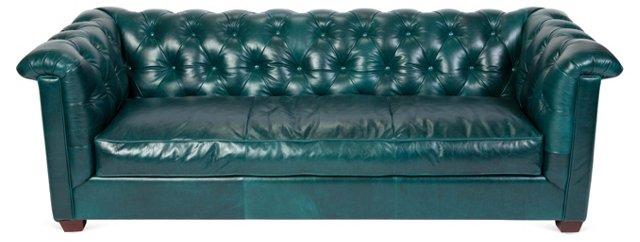 """Alexa 93"""" Tufted Leather Sofa, Teal"""