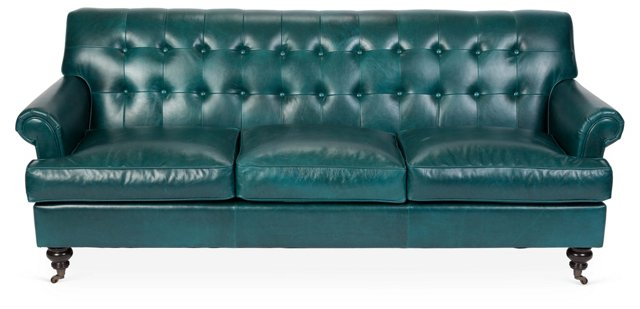 "Whitby 89"" Tufted Leather Sofa, Teal"