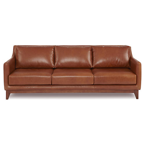 "Gable 91"" Leather Sofa, Cognac"