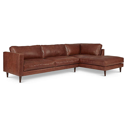Cheviot Leather Sectional, Brown
