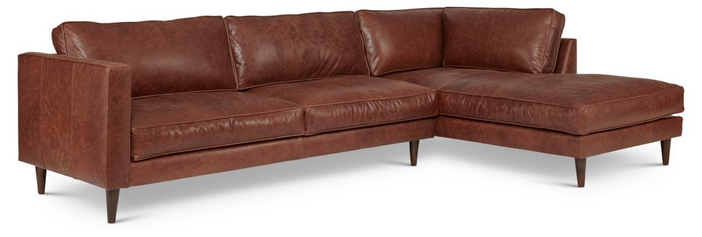 Cheviot Leather Sectional, Brown - Sectionals - Living Room ...