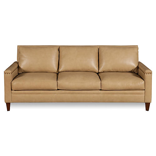 "Sebastian 84"" Leather Sofa, Parchment"