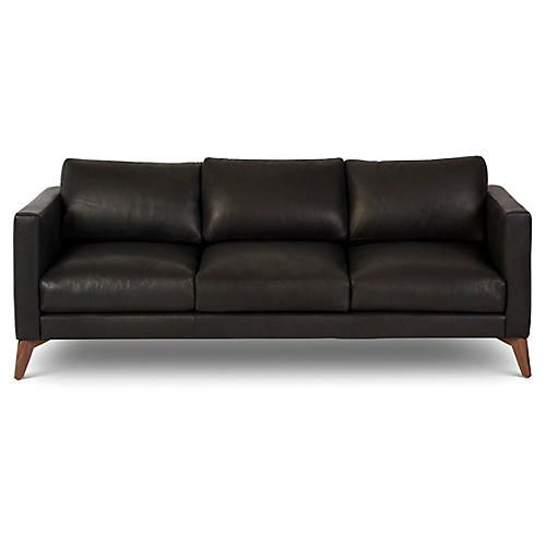 "Hollywood 82"" Leather Sofa, Black"