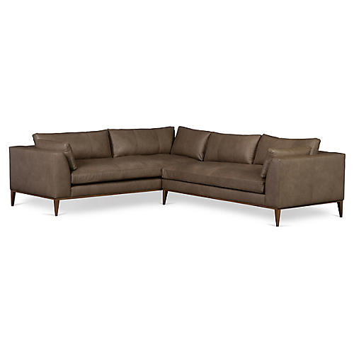 Lucca Sectional, Greige Leather