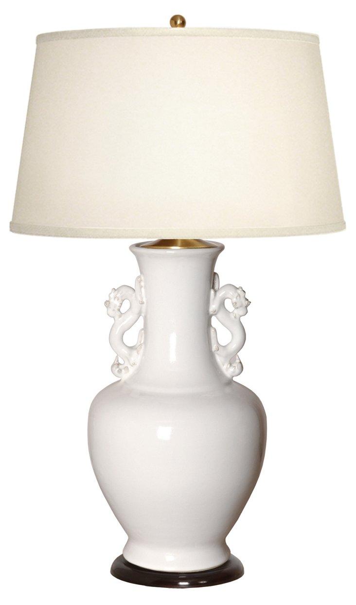 Dragon Handle Vase Table Lamp, White