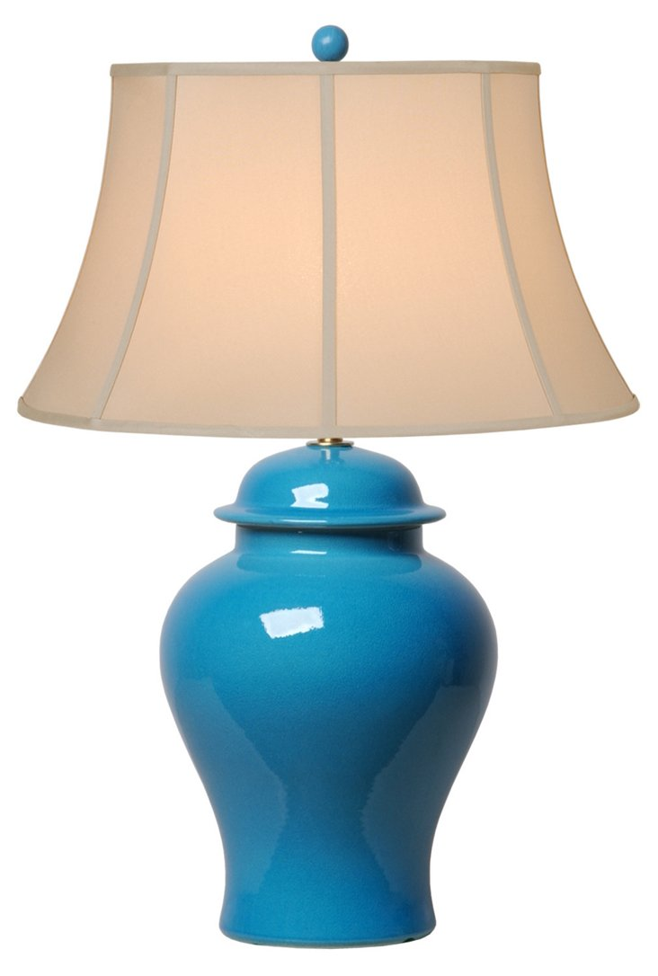Ginger Jar Table Lamp, French Turquoise