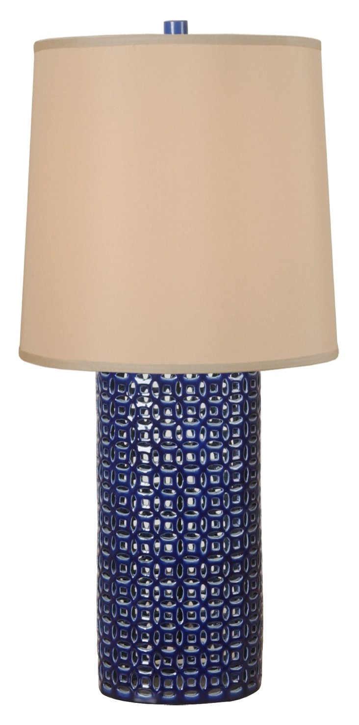 Narrow Fortune Vase Table Lamp, Blue