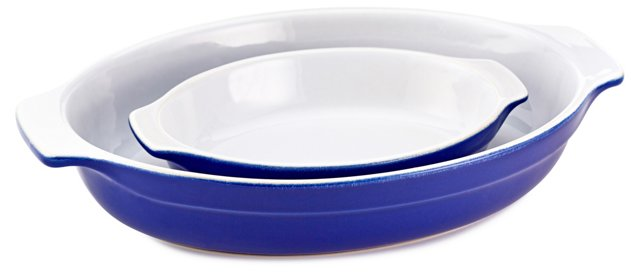 S/2 Assorted Oval Gratins, Azur