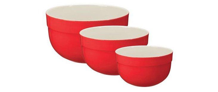 Asst of 3 Deep Mixing Bowls, Cerise