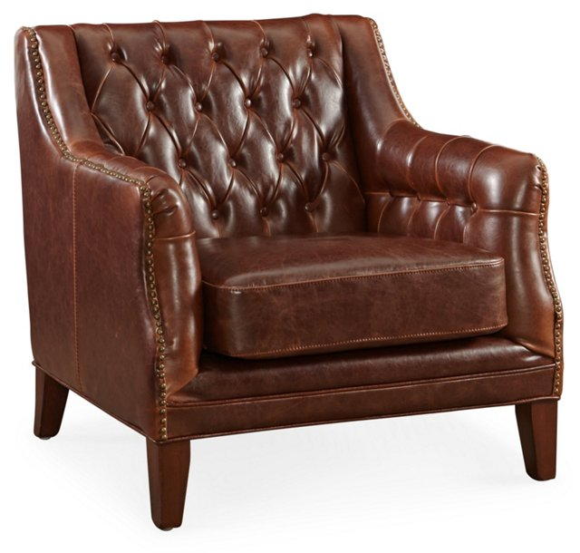 London Tufted Leather Club Chair, Brown