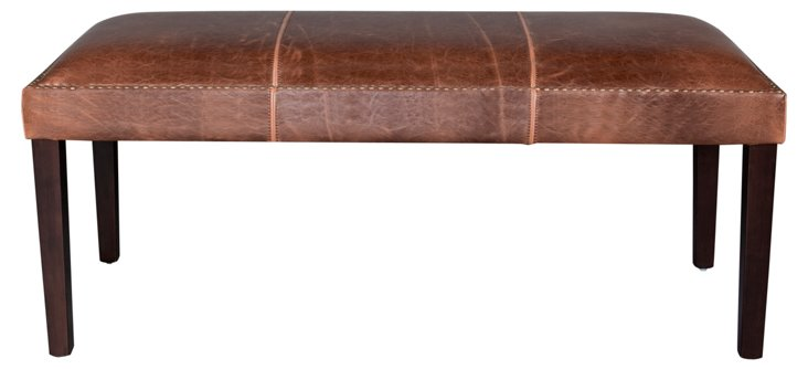 "Weldon 48"" Leather Bench, Saddle"