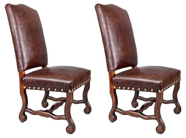 Brown Tanner Leather Side Chairs, Pair