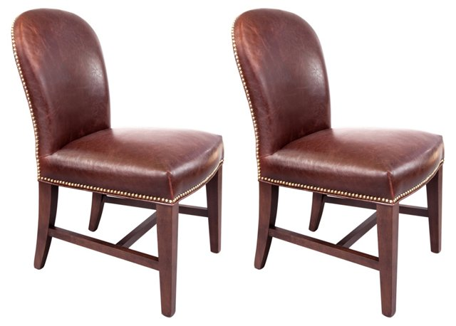 Piedmont Leather Side Chairs, Pair