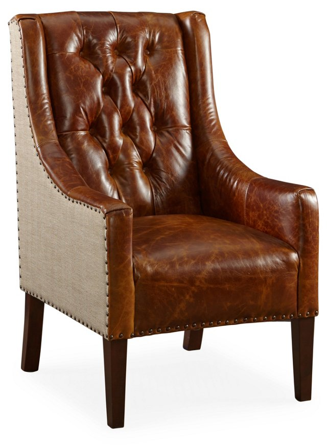 Wescott Leather Wingback, Khaki/Brown