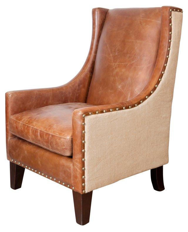 Kensington Wingback Chair, Camel/Natural