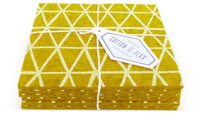 Gold Triangle Coasters, Set of 6