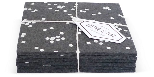 Charcoal Confetti Coasters, Set of 6