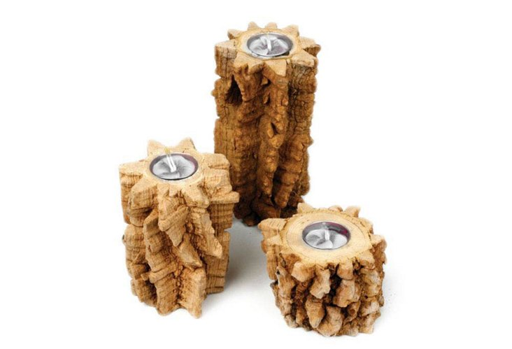 S/3 Assorted Spine Tree Candleholders