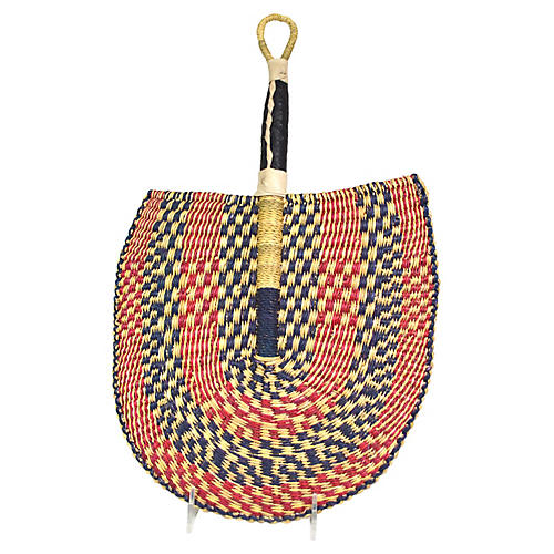 "18"" Ghanaian Leather-Handle Fan, Red/Navy"