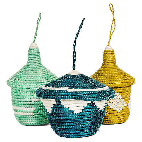 Asst. of 3 Basket Ornaments, Indigo/Multi