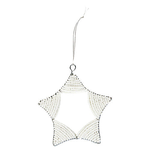 Beaded Curved-Star Ornament, White