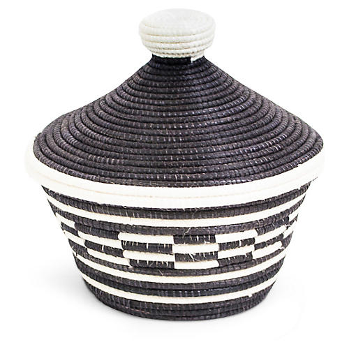 "5"" Cathedral Small Basket, Black/White"
