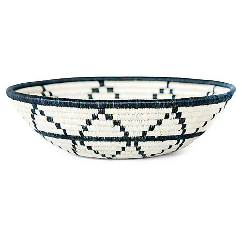 "12"" Thousand Hills Large Basket, Black/White"