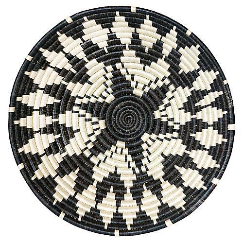 "12"" Intore Large Basket, Black/White"