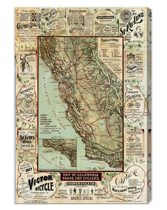 Oliver Gal, California 1896 Cyclers' Map