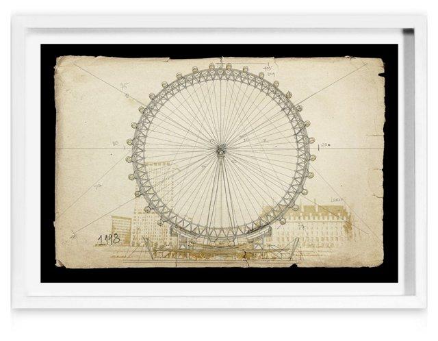 London Eye 1998, framed