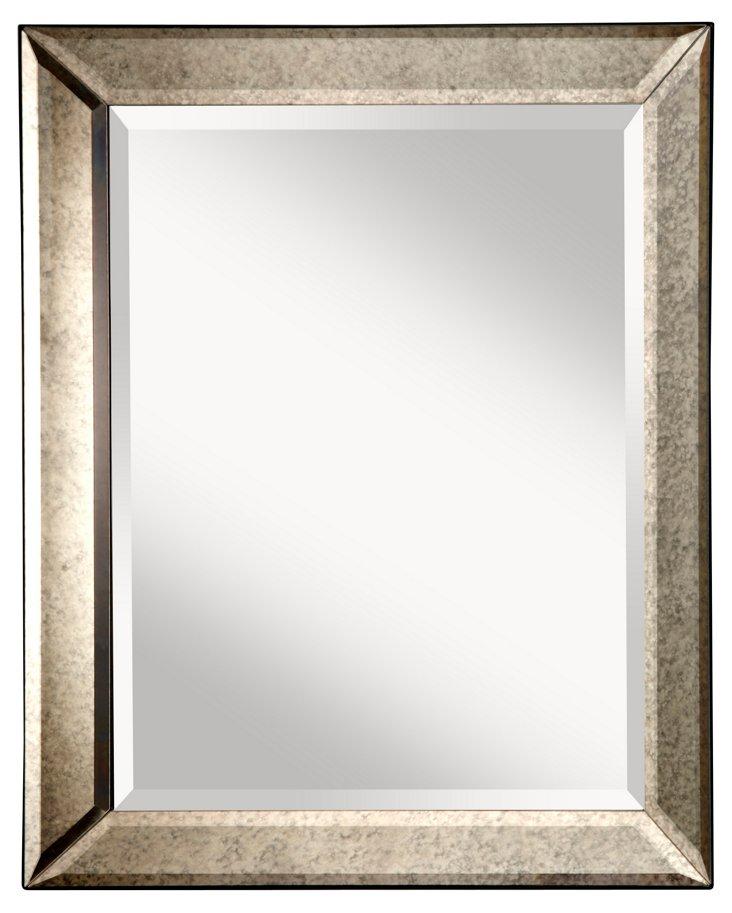 Matilda Wall Mirror, Antiqued Silver
