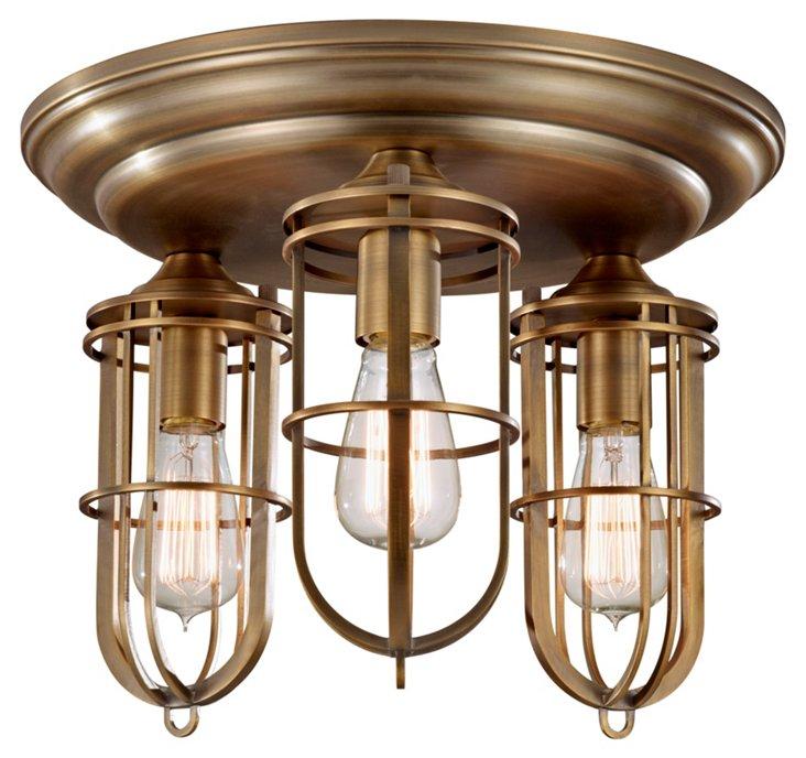 Urban Renewal 3-Light Flush Mount, Brass