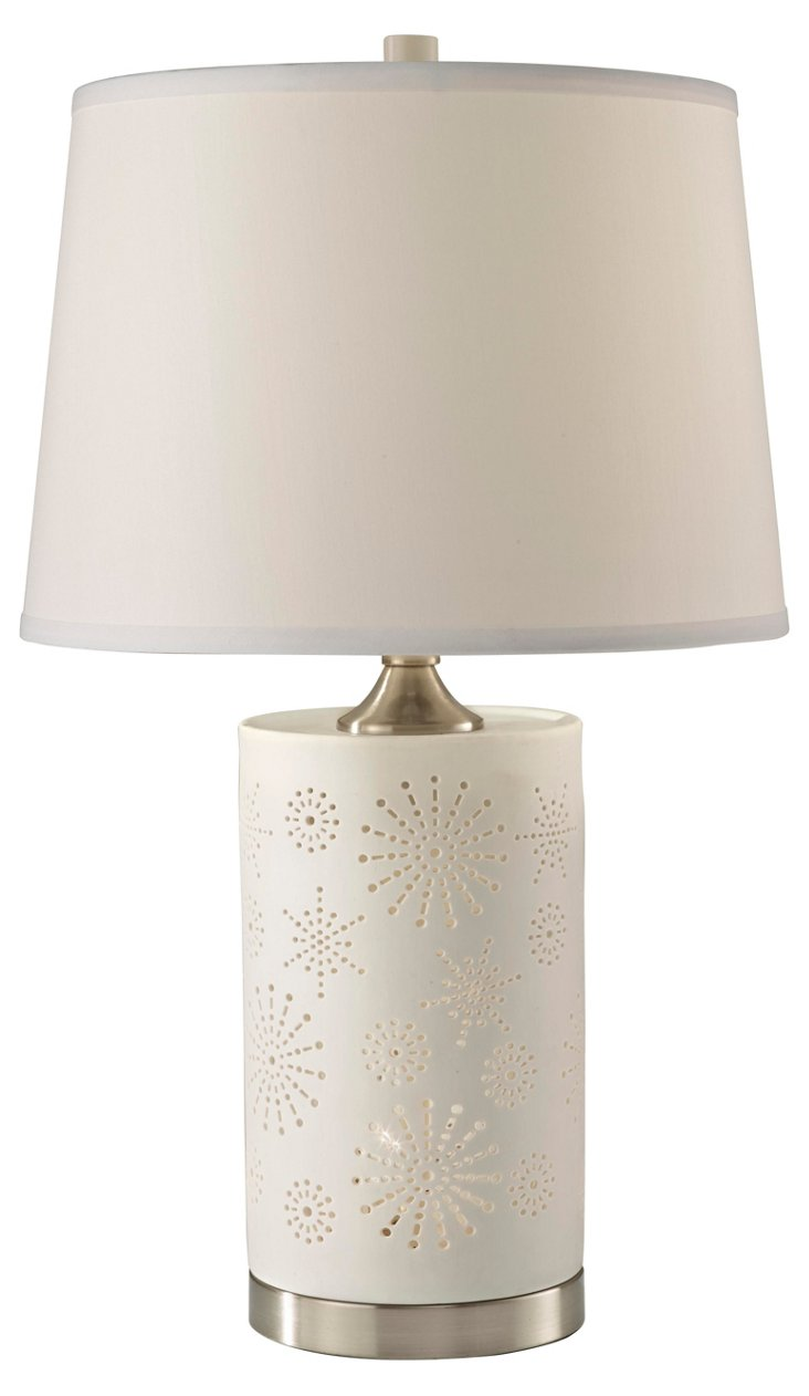 Modello Floral Table Lamp, White