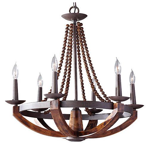 Adan Chandelier, Rustic Iron/Wood