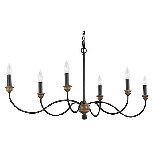 Palmira 6-Light Chandelier, Zinc