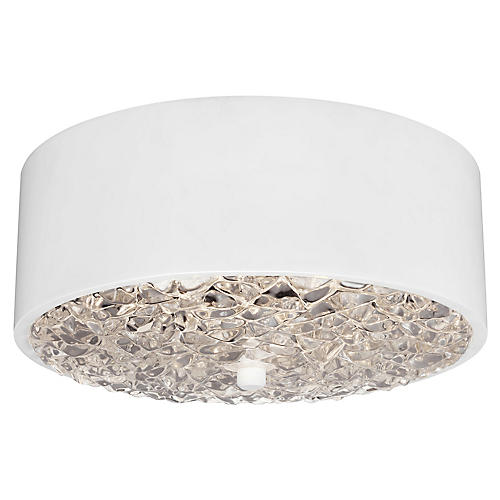 Dori 2-Light Flush Mount, Flat White/Clear