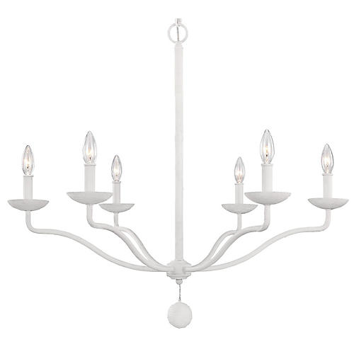 Annie 6-Light Chandelier, Plaster White