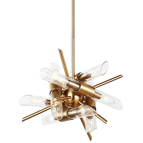 Quorra 12-Light Chandelier, Brass/Clear