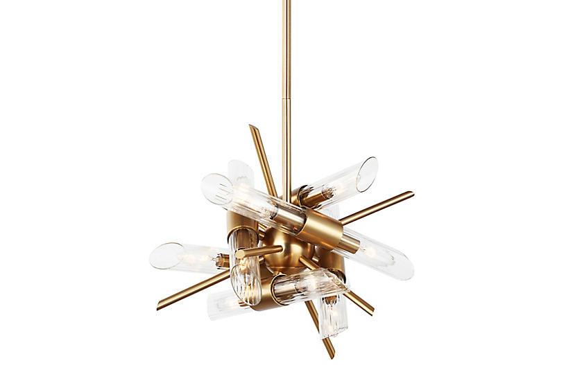 Quorra 12-Light Chandelier, Brass/Clear