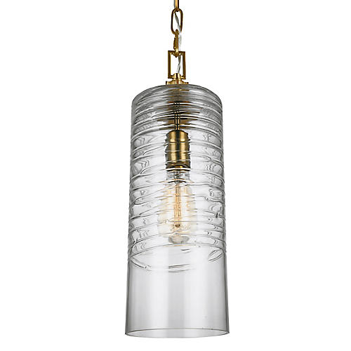 Elmore Cylinder Pendant, Clear/Brass