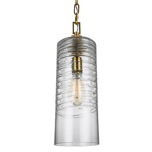 Elmore Cylinder Pendant, Clear/Brass