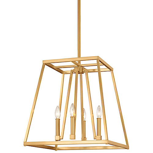 Conant Wide Pendant, Satin Brass